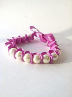 Pearl Ribbon Bracelet, Light Purple Ribbon, Vintage Beads, Elegant Bracelet, Gift for Women, Stackable Bracelet.