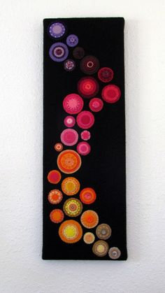 Embroidered Wool Felt Circle Art. Use linen for fabric with felt appliqué and embroidery.