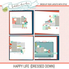 Happy Life {Dressed Down} templates are designed to coordinate with March 2016 BYOC products, and are the perfect start for any layout about your happy life!   This personal use/S4H template set includes four (4) layered 12x12 templates in both .psd and .tif files all at 300 dpi. Drop...