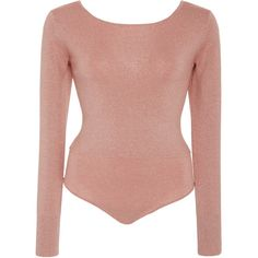 Diane von Furstenberg Long Sleeve Fitted Bodysuit ($300) ❤ liked on Polyvore featuring intimates, shapewear and pink