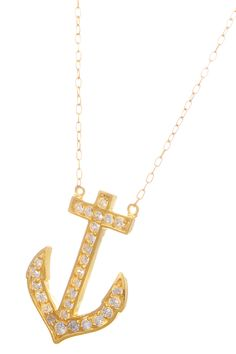 Anchor Pendant Necklace In Gold