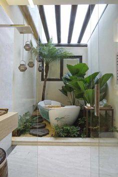 bathroom plants trends 45 Trending 2019 Jungle Bathroom Design Your Teen: Tips On Su Tropical Bathroom, Tropical Decor, Tropical Style, Tropical Garden, Interior Garden, Bathroom Interior, Modern Bathroom, Indoor Garden, Vertical Gardens