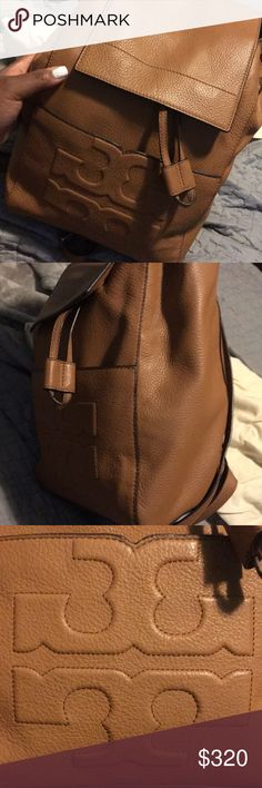 Tory burch Bombe-t backpack BNWT Brand new 100% authentic Tory Burch backpack! Never worn just tried it on. Such a beautiful color cognac/brown color. Drawstring and magnetic closure. Cowhide leather. Perfect for all seasons (especially fall) comes with dustbag! 😊 last two pictures are not of me, they are to show how the bag looks on. Tory Burch Bags Backpacks