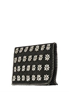 Stella McCartney Embroidered Diamond Faux Leather Clutch