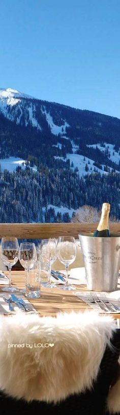 {caberfae peaks ski lodge. snuggle up. snow is cold} ❅ ❆    Chesa Falcun in Klosters | LOLO