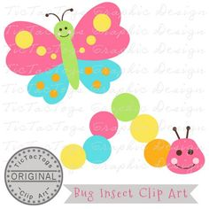 Bug Clip Art,  Caterpillar Clipart, Butterfly Digital, Personal and CU only 99¢