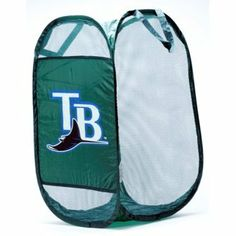 """Tampa Bay Rays MLB Pop Up Hamper by Forever Collectibles. $8.95. This pop-up MLB hamper is the perfect accessory for any sports fan's room. Measuring approx. 14"""" wide and over 24"""" tall, the hamper features your favorite team's logo on the side. It is made from lightweight mesh fabric for ventilation, and folds flat for easy storage. Makes a perfect gift!"""