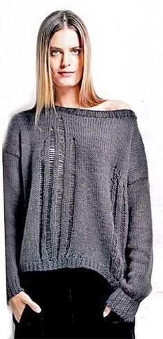Пуловер со спущенными петлями