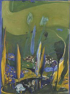 Ponds and poplars - Brett Whiteley Australian artist) Australian Painters, Australian Artists, Abstract Landscape, Landscape Paintings, Landscapes, Modern Art, Contemporary Art, Abstract Art Images, Unusual Art