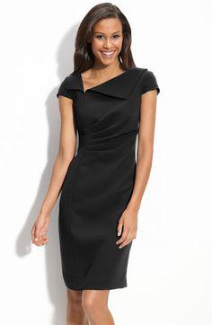 Tahari by Arthur S. Levine Asymmetric Cap Sleeve Dress    Another black sheath option.