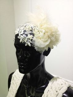 Lace and Pearl fascinator by Oscar Daniel