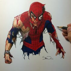 Here's an Amazing Spider-Man, still standing! #amazingspiderman #marvel #copic #stillstanding #originalart #stevemcniven #colours #spiderman