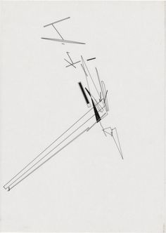 Zaha Hadid (1950 – 2016) Architects | Parc de la Villette - Discovery | Paris, France | 1982-83 | Color pencil on tracing paper 11 3/4 x 16 1/2″ | http://www.zaha-hadid.com/