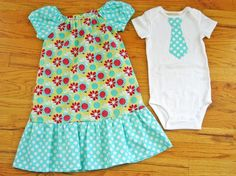Brother Sister Matching Outfits - Girls Peasant Dress and Baby Boy Tie Onesie