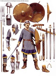 Carolingian knight and his equipment.