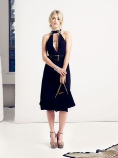 HALTER NECK MIDI DRESS WITH DEEP V FRONT AND BACK