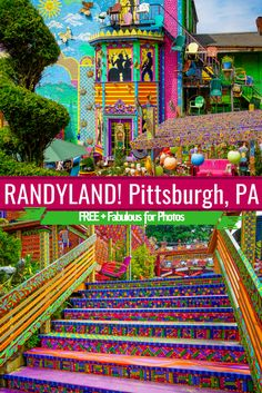 Randyland is the best free place to visit in Pittsburgh, PA for colorful photos, fun, & creative humor! See psychedelic rainbow photos from a visiting teacher. #Pittsburgh #Randyland #Travel #Color #Design #Creativity #Art