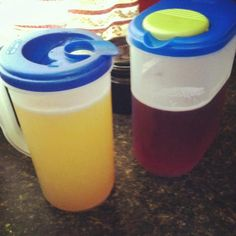 2 Summer Beer recipes. Left: 1 limeade frozen concentrate, fill empty limeade container w/ plain vodka once, & 3 beers. Mix well. On Right: 1 cup Tropical Punch Pinnacle Vodka, 1 fruit punch frozen concentrate, 1 beer, 1 cup water. Mix well. (The container on left is a double batch is why it has so much more, it's a gallon size pitcher)