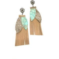 Handmade boho mint and gold snake leather earrings ($21) ❤ liked on Polyvore featuring jewelry, earrings, leather earrings, yellow gold earrings, gold jewellery, mint green earrings and boho jewelry