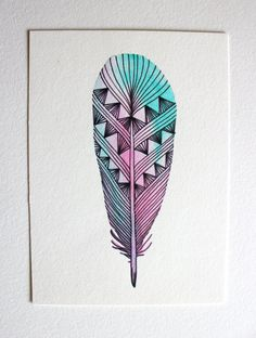 Feather Art - Watercolor Painting - Neon Spring Archival Print by River Luna