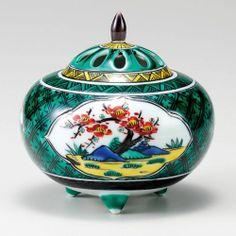 Kutani Porcelain Japanese Incense Burner Shotikubai Green H11 5cm | eBay