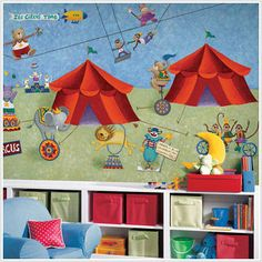 Big Top Circus XL Prepasted Chair Rail Wall Mural - Wall Sticker Outlet