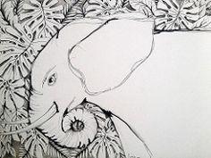 Elefante.. (LviaVieitoLT) Tags: blackandwhite white elephant drawing draw desenho elefante nankin nanquim