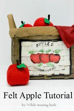 While Wearing Heels: I Heart Fake Food - Felt Apple Tutorial
