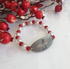 Christmas Angel Bracelet  Red and White Angel by ABBGDesigns