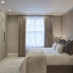The master bedroom at our Marylebone project from 2014 Bedroom Drapes, Home Curtains, Home Bedroom, Modern Bedroom, Bedroom Decor, Master Bedroom, Ceiling Curtains, Taupe Walls, Hotel Room Design