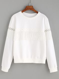 White Tassel Long Sleeve Sweatshirt — 0.00 € --------------------color: White size: L,M,S,XS