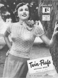 Free Vintage Knitting Pattern Booklet - Twin-Prufe Series 144 (c. 1950s)