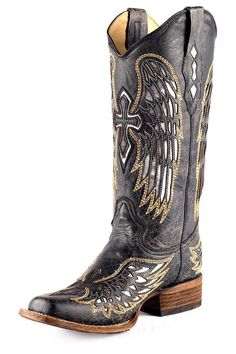 Corral Black Silver and Gold Wing and Cross Cowgirl Boots - Largest Corral Boots selection at www.HeadWestOutfitters.com
