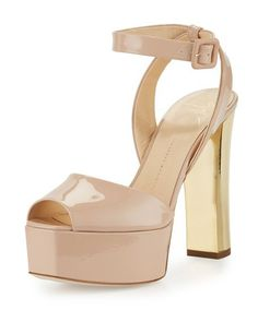 81deb3788fb55 80MM PATENT PLTFM AS SNDL by Giuseppe Zanotti at Neiman Marcus Golden Shoes,  Golden Sandals
