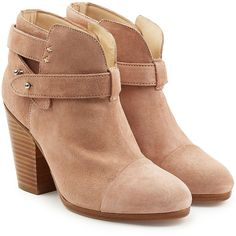 Rag & Bone Suede Harrow Ankle Boots (€440) ❤ liked on Polyvore featuring shoes, boots, ankle booties, camel, suede ankle booties, studded boots, bootie boots, short boots and short suede boots