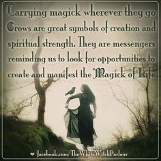 animal totem, spirit, symbolism, meaning, crow, magick, witch, wicca, spiritual, blessings, knowledge, book of shadows, strength, life, creation #whitewitchparlour https://www.facebook.com/TheWhiteWitchParlour