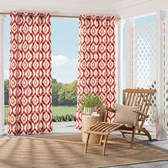 Bring indoor elegance to outdoor spaces with Parasol Barbados Indoor/Outdoor Curtains. This versatile collection of decorative curtains is designed to offer both fashion and function for the home. Inspired by the latest fashion trends the Barbados collection features an ikat trellis print in bright color combinations.  Fade resistant fabric makes them perfect for the patio, sunroom or gazebo.  Ideal for all outdoor spaces, these water-repellant curtains are durable enough to hold their b...