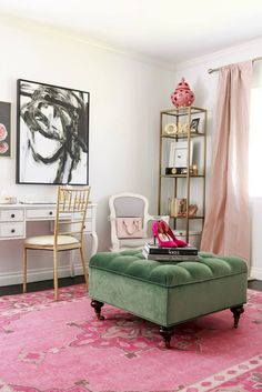 This is so cute! Inspiration for a feminine office space.