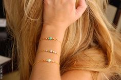 Mint/Turquoise and Peach beaded bracelet by BoutiqueMinimaliste, $13.00