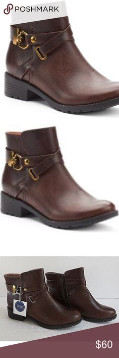 *NWT* Croft & Barrow Aimee Ankle Boots in Brown ~ Sophisticated with an edgy touch!! ~   Bold harness straps & trendy block heels combine for a winning look in these women's Croft & Barrow ankle boots.  FEATURES: - Ortholite technology enables air flow for a cool foot, wicks away moisture, inhibits odor and fungus and provides long lasting cushioning!! - Wraparound harness strap w/gold buckeling -Treaded lug sole  - Synthetic upper / lining TPR outsole - Round toe  - Side zipper  - 1.3-in…