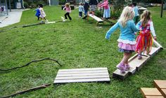 Building ramps outdoors can incorporate 'teamwork.' Building ramps involves math, because the children need to be able to problem solve how to build it. Building ramps involves science, because the children are balancing as they walk in front and behind one another.