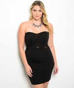 This sassy strapless sweetheart neckline dress features a semi stretch fabric with sheer mesh center panel accent. Exposed zip back closure. Mood: Sexy, Date Night, Party Fabric Content: SELF 97% POLY