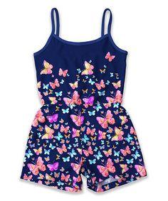 4f31af645571 Sunshine Swing Navy Butterfly Romper - Toddler   Girls