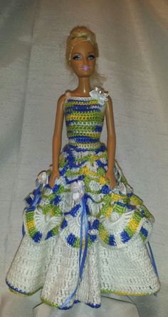 Crochet Barbie Dress, Crochet Barbie Doll Clothes, Fashion Doll Crocheted Clothing by GrandmasGalleria on Etsy
