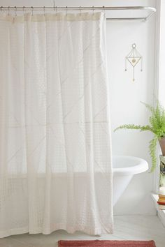 Freya Eyelet Shower Curtain - Urban Outfitters