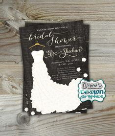 Bridal Shower Invitation: this printable bridal shower invite contains chalkboard accents with script and floral details and a beautiful rose accented wedding dress. Honor the future Mrs. with this elegant invite, with customizable name, greeting, and event information. Personalize this card with your event details! by DazzleDesignGraphics
