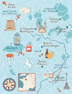 Zara Picken - Map Perche area of France for Homes and Antiques Magazine
