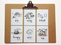 Inktober Postcard Set No1 by Camille Medina | Etsy: camillemedinadesigns | www.camillemedina.com