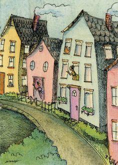 Neighbors - Art print by Nicole Wong