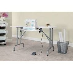 The Multi-Purpose Folding Table by Studio Designs features a large 47.5-inch-wide work surface with a drop down platform that adjusts to 6 height positions. Once the platform is lowered this table can accommodate a sewing machine or keyboard. This table adapts to work in almost every room in the house. Some of the possible uses include: a sewing table, computer table, craft table, general office machine table, extra work space or a folding party table for gatherings.